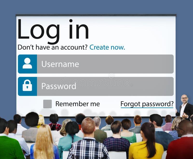 Nazwy użytkownika hasła tożsamości prywatności Internetowa Online ochrona Conc obrazy stock