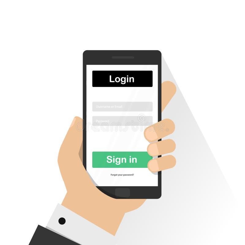 Nazwy użytkownika strona na smartphone ekranie Ręka trzyma smartphone i palca dotyków ekran Nowożytna płaska projekt ilustracja royalty ilustracja