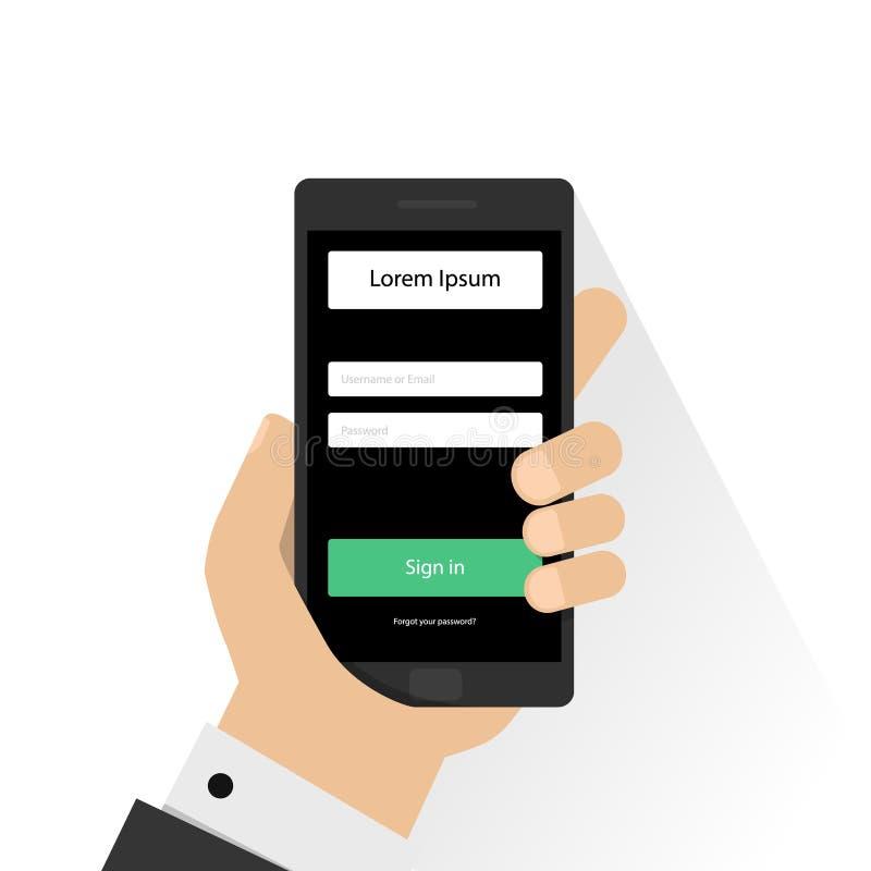 Nazwy użytkownika strona na smartphone ekranie Ręka trzyma smartphone i palca dotyków ekran Nowożytna płaska projekt ilustracja ilustracji