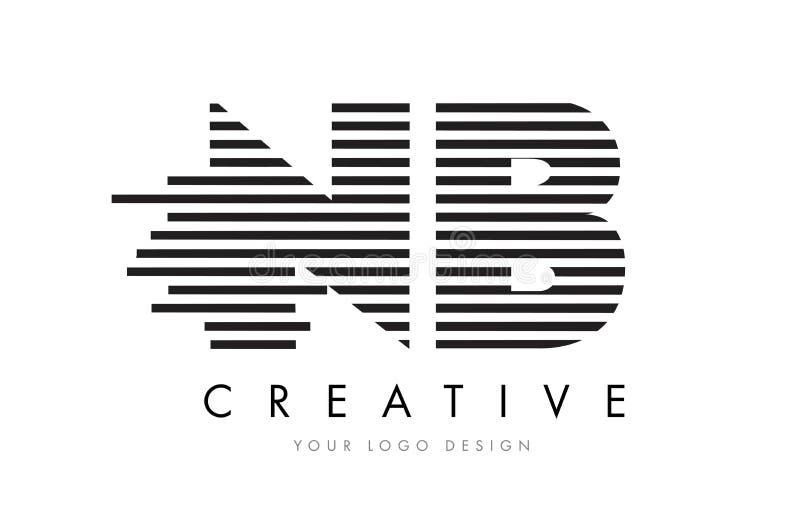 NB N B Zebra Letter Logo Design with Black and White Stripes vector illustration