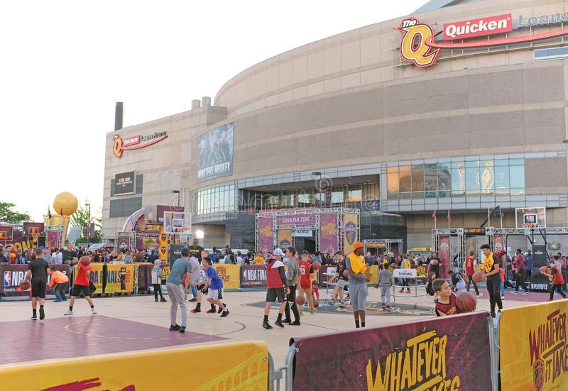 NBA fans play basketball outside the Q prior to the NBA Finals in Cleveland royalty free stock photos