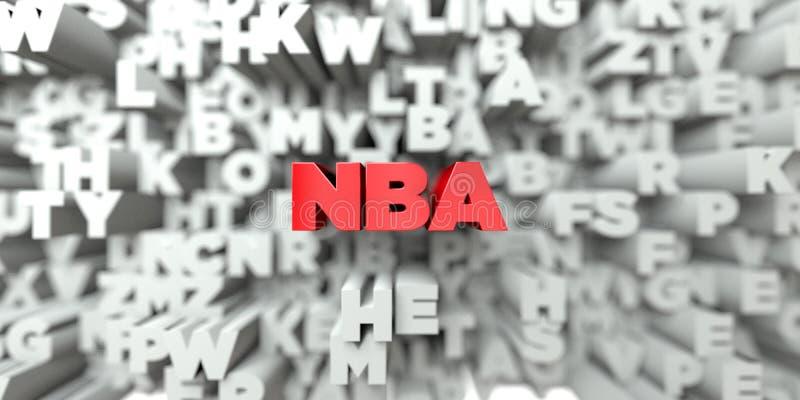 NBA - Rode tekst op typografieachtergrond - 3D teruggegeven royalty vrij voorraadbeeld vector illustratie