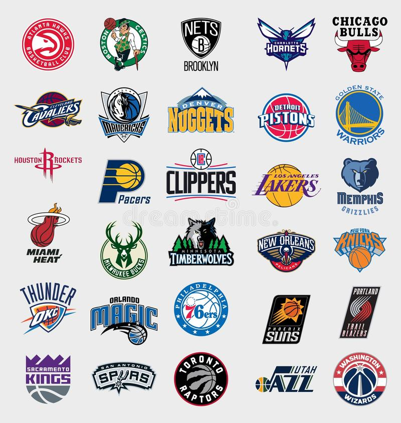 NBA teams logos. Vector logos collection of the 30 national basketball association (NBA) teams. Updated to 2016 - 2017