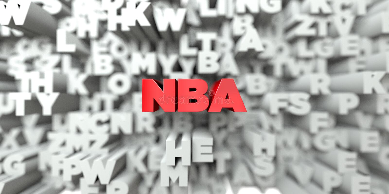 NBA - Texto vermelho no fundo da tipografia - 3D rendeu a imagem conservada em estoque livre dos direitos ilustração do vetor