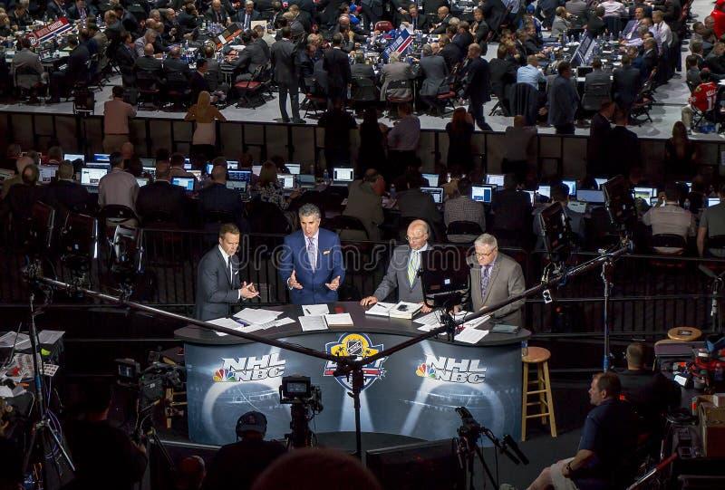 Nbc-sportar Live At The Nhl draft 2015 royaltyfri fotografi