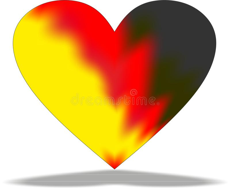Heart, flame, burning heart, red, yellow, black, abstraction stock photography