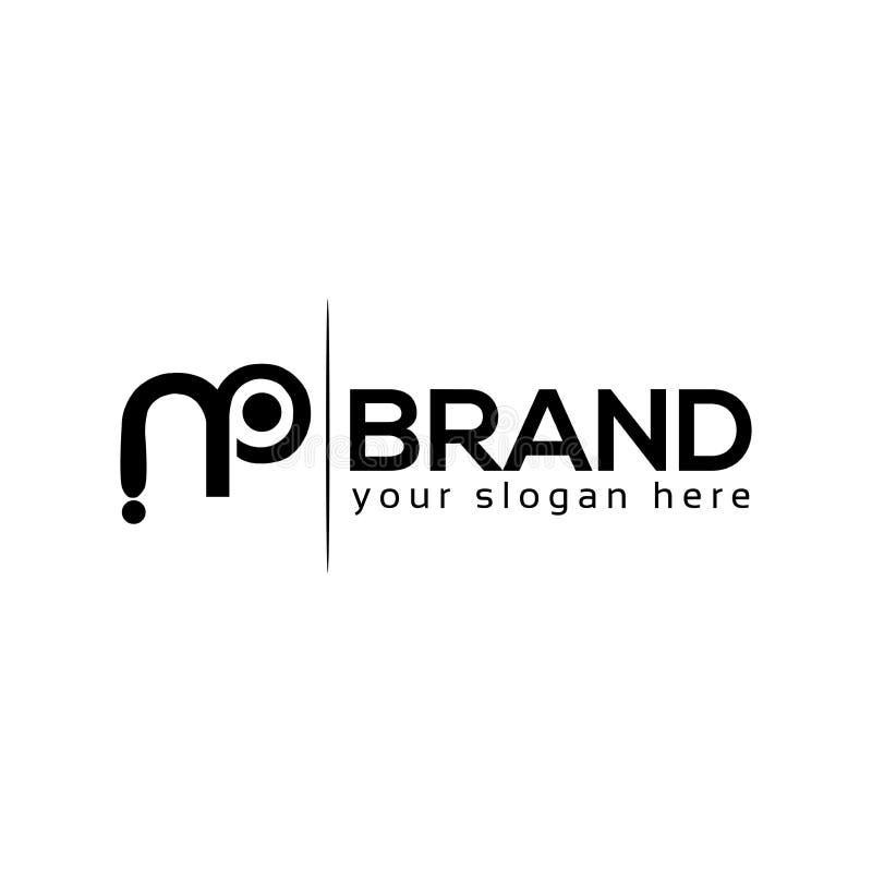 Black MP Monogram, letter logo, flat design stock illustration