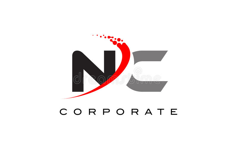 NC Modern Letter Logo Design with Swoosh. NC Modern Letter Logo Design with Red Swoosh and Dots stock illustration