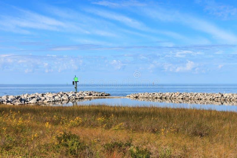 NC Ocracoke Living Shoreline Coastal Estuary royalty free stock photo