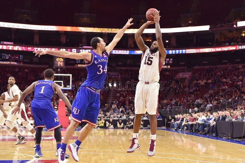 2014 NCAA Basketbal - Kansas bij Tempel royalty-vrije stock fotografie