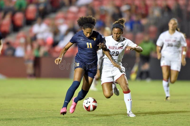2015 NCAA het Voetbal van Vrouwen - WVU-Maryland royalty-vrije stock afbeelding
