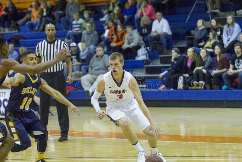 NCAA Mens Basketball. Carroll University, Waukesha, WI, USA, Jan 26, 2016 NCAA, Men's Midwest Conference Basketball, versus Beloit College. Carroll #3 royalty free stock photos