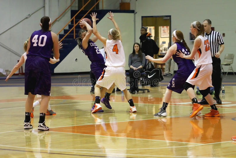 NCAA Women's Basketball. Carroll University, Waukesha, WI, USA, Feb 8, 2014, NCAA, Womens' Midwest Conference Basketball DIV lll, versus Cornell stock image