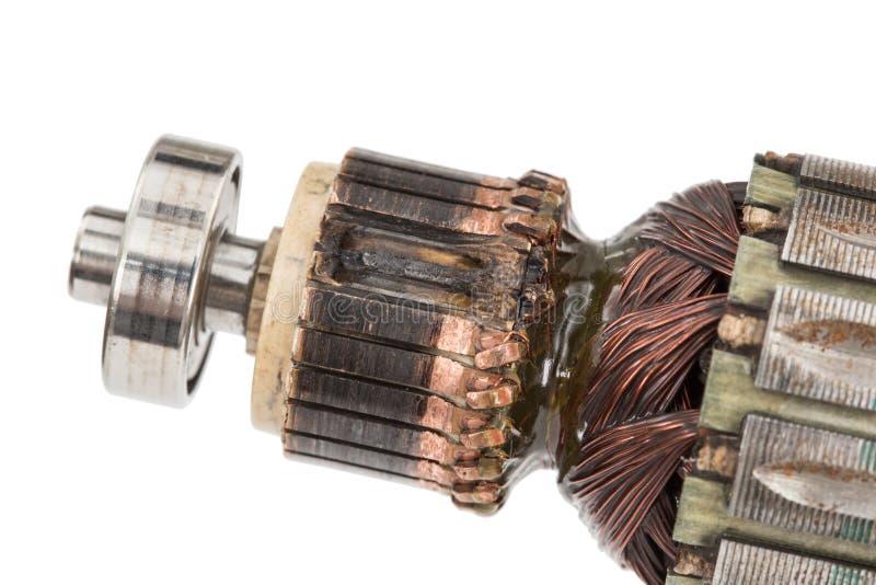 Âncora danificada do motor elétrico, isolada no fundo branco imagem de stock royalty free
