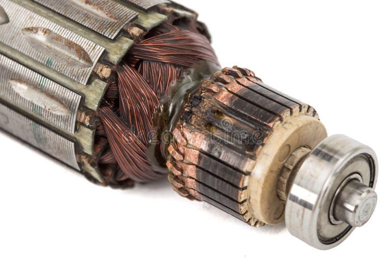 Âncora danificada do motor elétrico, isolada no fundo branco fotografia de stock