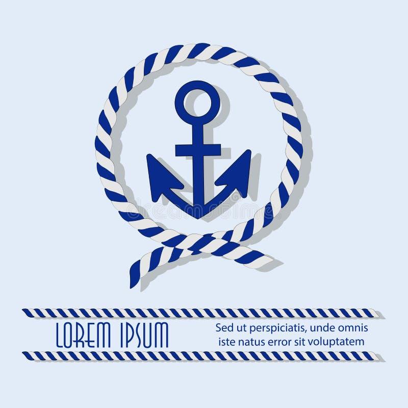 Âncora em um círculo com uma corda do mar ilustração royalty free