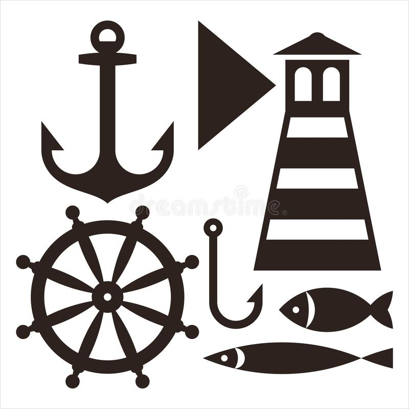Âncora, leme, farol, gancho e peixes ilustração do vetor