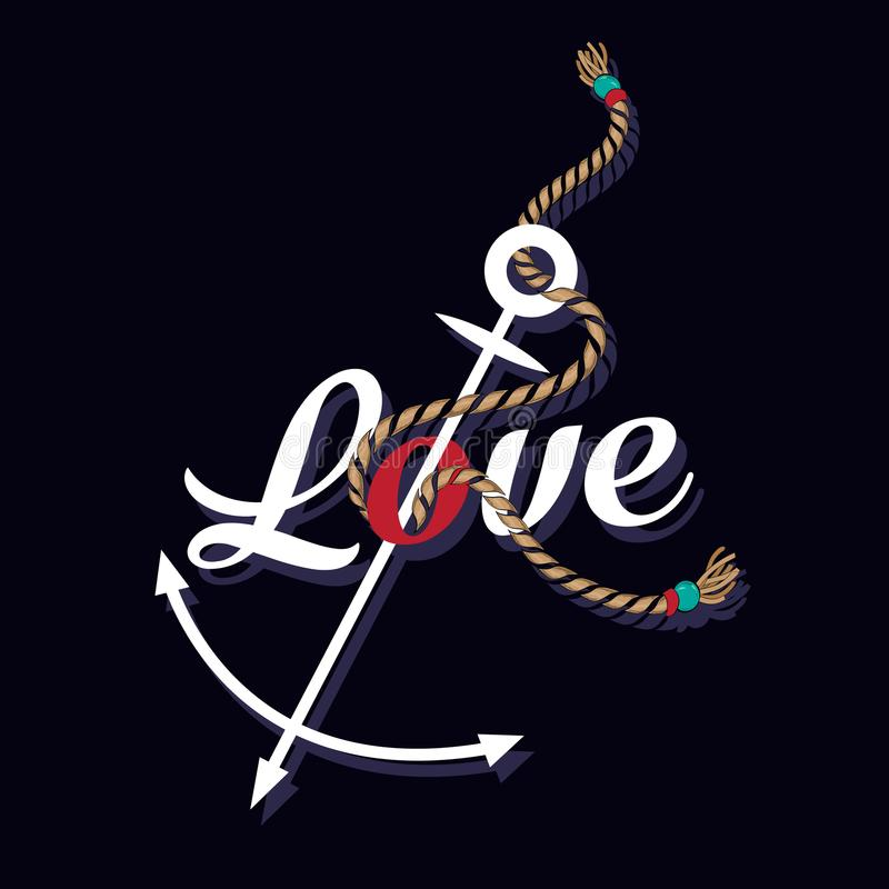 Âncora marinha náutica da cópia gráfica do t-shirt no amor do fraseio ilustração royalty free