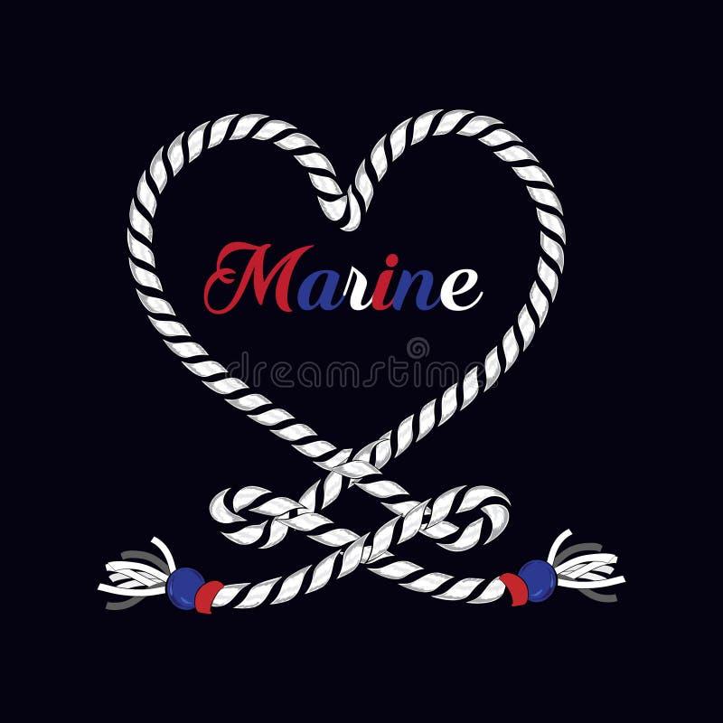 Âncora marinha náutica da cópia gráfica do t-shirt no coração da corda ilustração royalty free