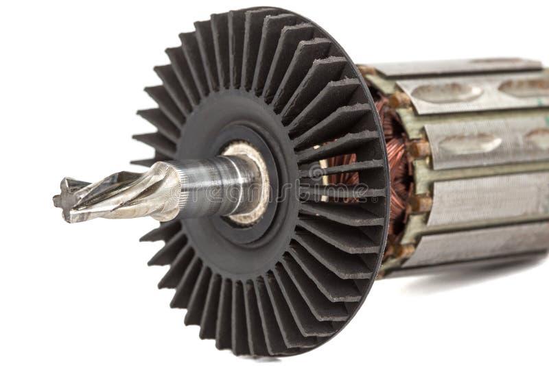 Âncora velha do motor elétrico, isolada no fundo branco fotografia de stock