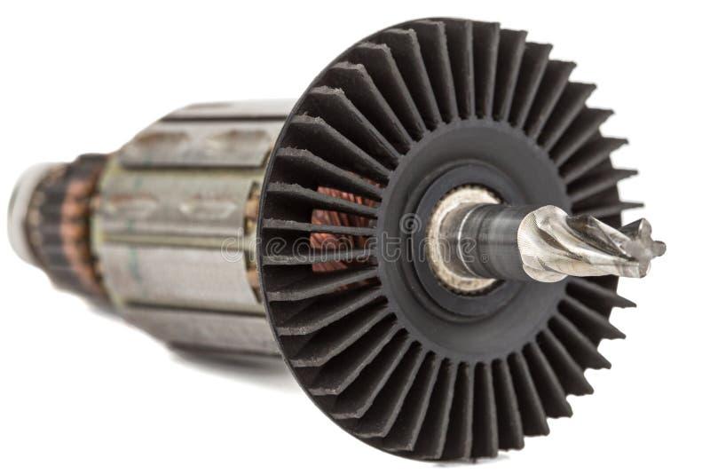 Âncora velha do motor elétrico, isolada no fundo branco fotos de stock
