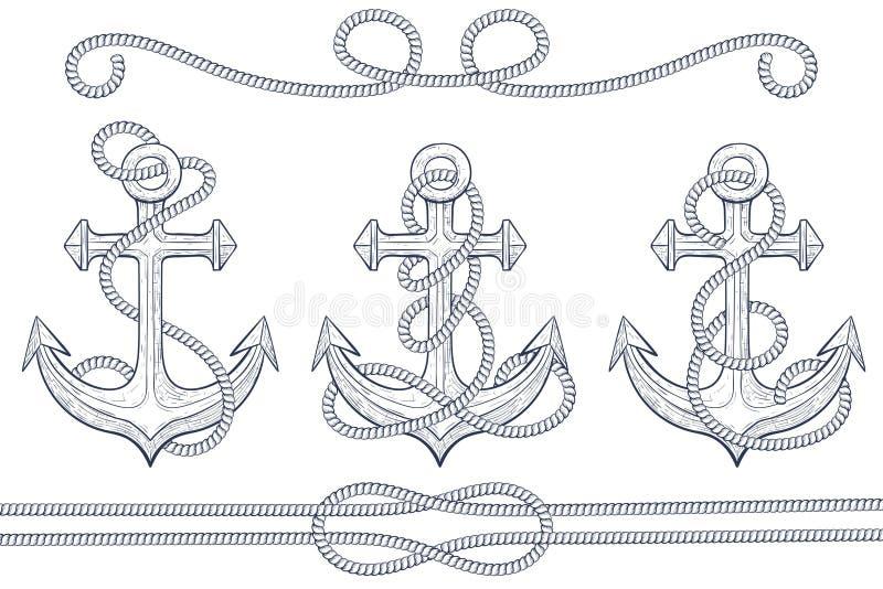 Âncoras com corda Esboço desenhado mão ilustração stock