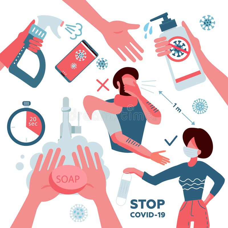 2019-nCoV covid-19 virus protection elements set. Coronovirus alert. Hand washing, phone disinfection, distance, mask. Prevention. Infographics. Collection of stock illustration