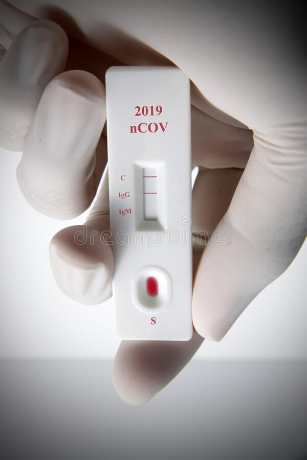 2019 nCOV rapid test kit. Used for screening from SARS CoV 2 viruses that cause COVID 19 / Wuhan Pneumonia royalty free stock image