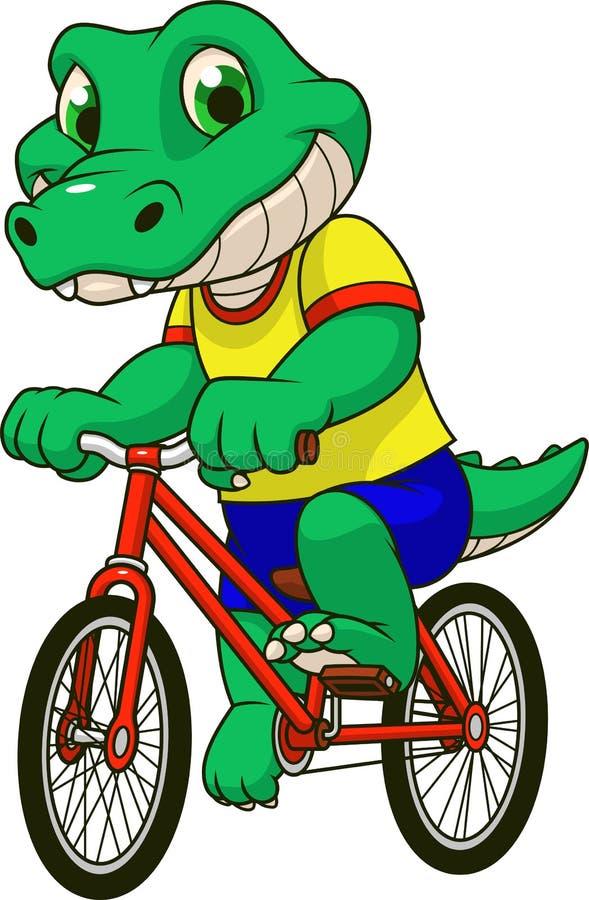 NCrocodile guida una bicicletta illustrazione vettoriale