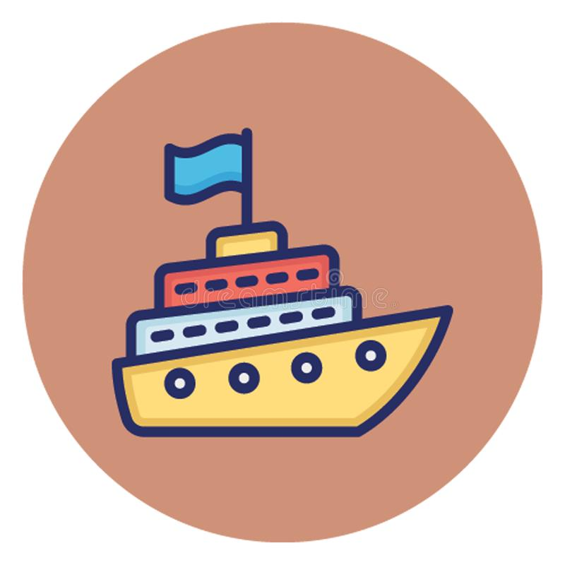 Cruise ship, fishing boat Vector Icon which can easily edit royalty free illustration