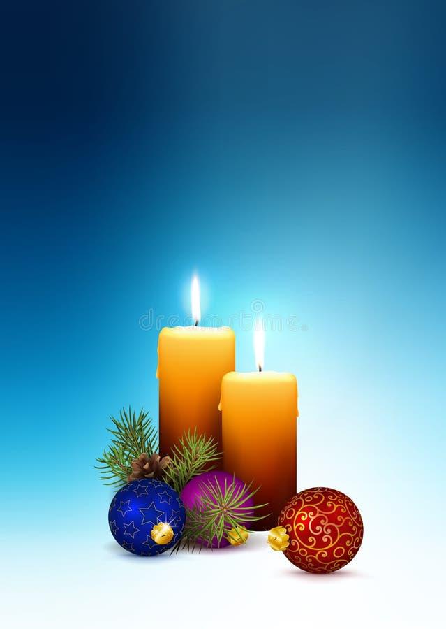 2nd adwent Bożenarodzeniowa kartka z pozdrowieniami z Dwa świeczkami i Bezpłatna przestrzeń dla - Swój życzeń i teksta royalty ilustracja