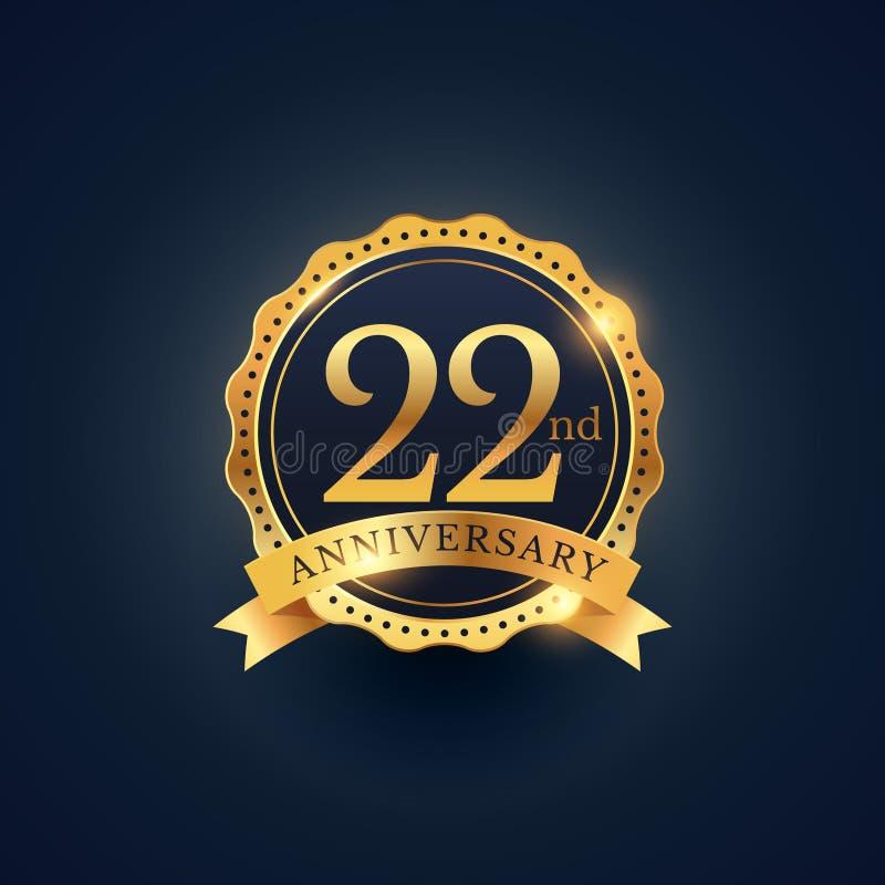 22nd anniversary celebration badge label in golden color. Vector stock illustration