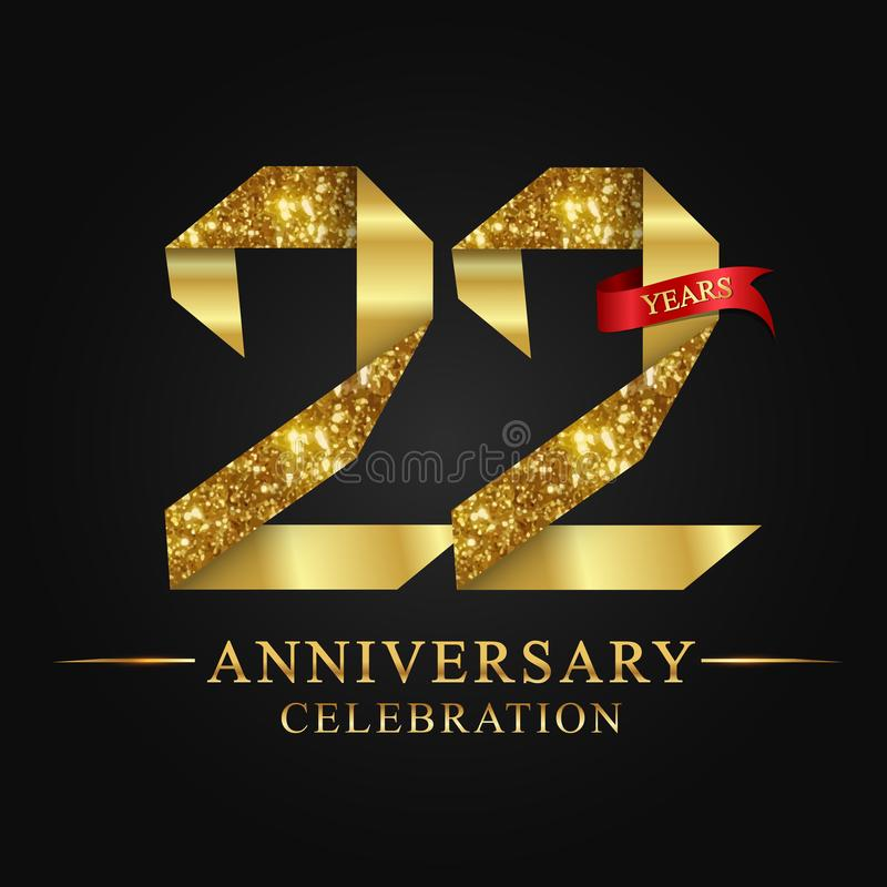 22nd anniversary years celebration logotype. Logo ribbon gold number and red ribbon on black background. Numbers style gold foil for logo, anniversary and etc royalty free illustration