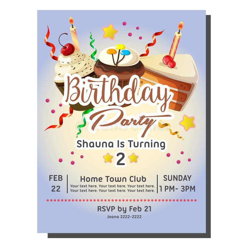 2nd Birthday Party Invitation Card With Cupcakes Stock Vector ...