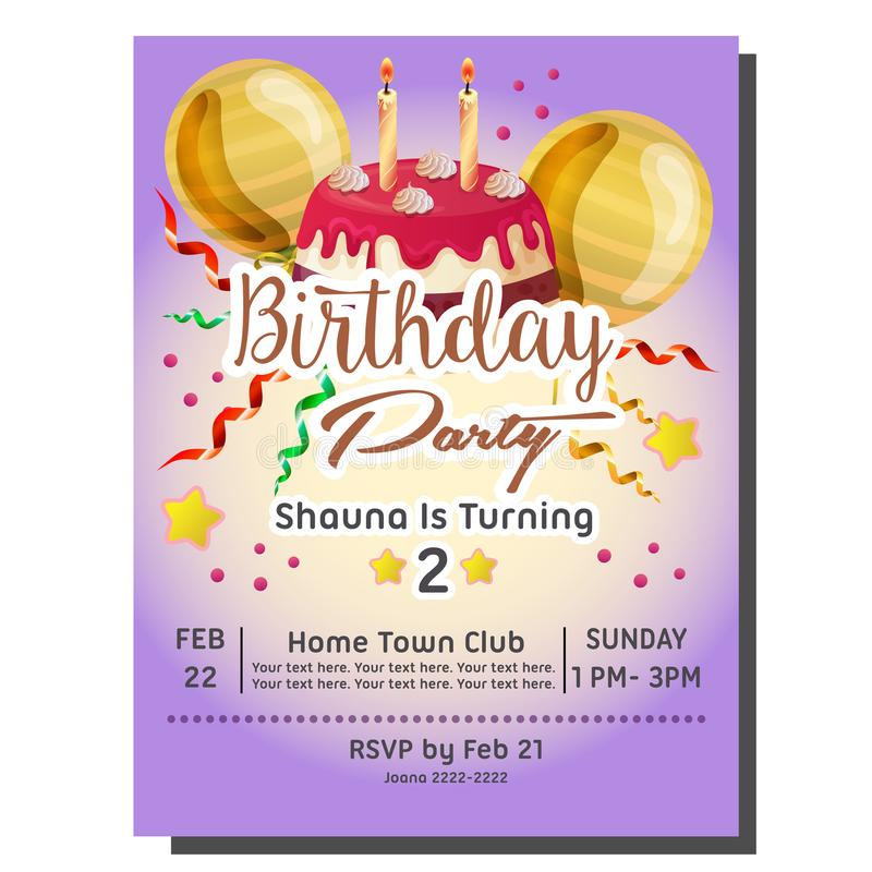 2nd birthday party invitation card with delicious tart stock illustration