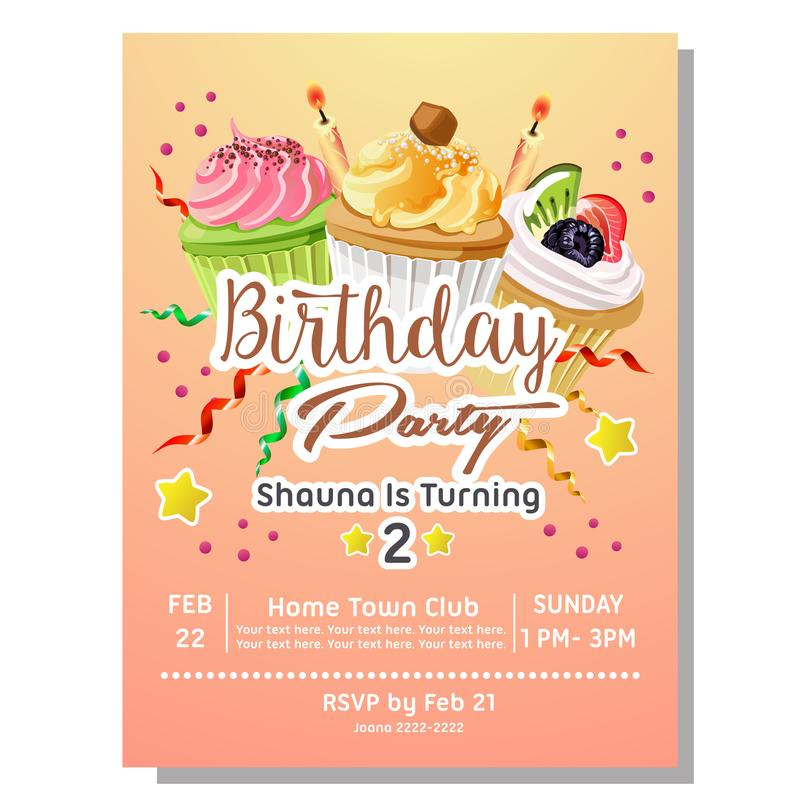 2nd birthday party invitation card with delicious cupcakes stock illustration