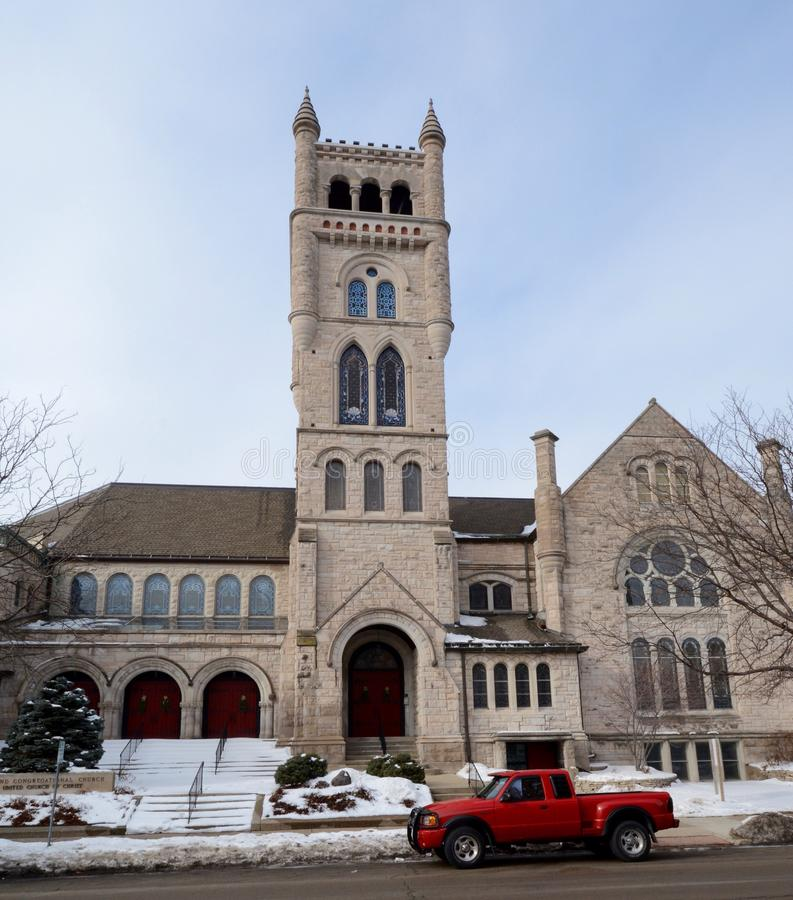 2nd Congregational Church. This is a winter picture of the 2nd Congregational Church in Rockford, Illinois. The church is an example of Gothic architecture was royalty free stock photo
