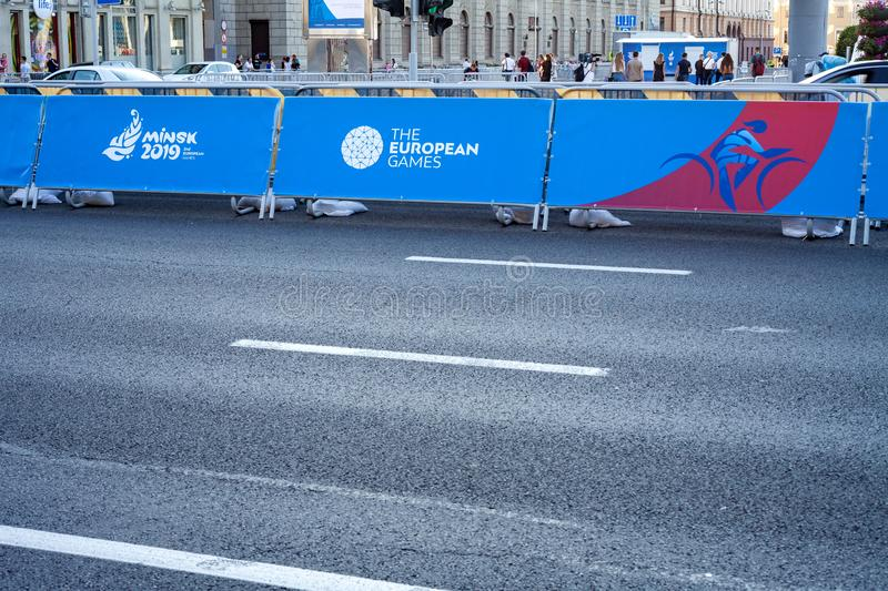 Minsk, Belarus, June 22, 2019: 2ND EUROPEAN GAMES, The road on which sports competitions are held with games logos. 2ND EUROPEAN GAMES, The road on which sports stock photography