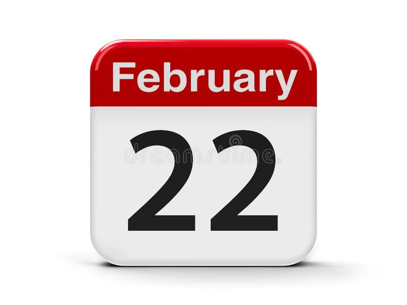 22nd February. Calendar web button - The Twenty Second of February - International Day in Support of Victims of Crime, three-dimensional rendering, 3D royalty free illustration