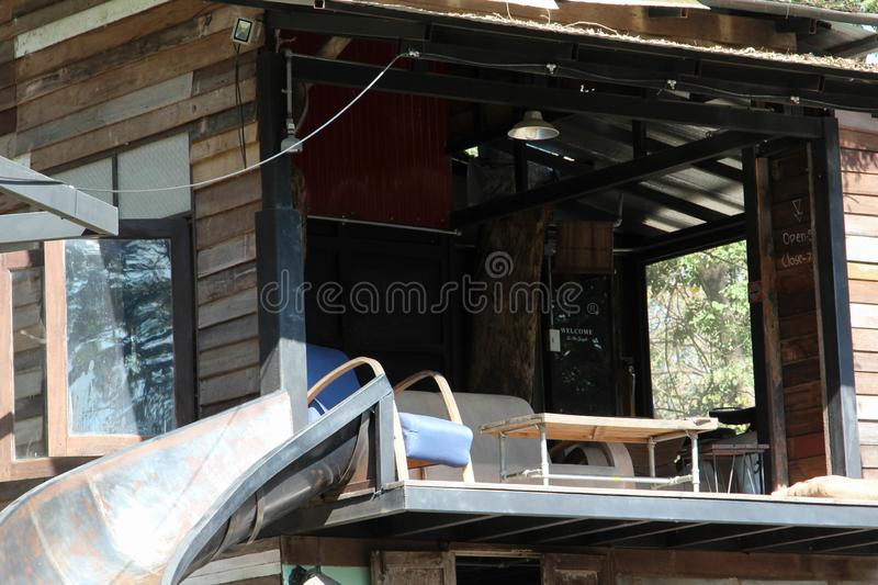 Balcony of old wooden house. 2nd floor balcony of old wooden house royalty free stock photos