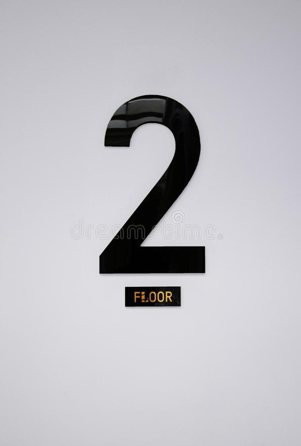 2nd Floor Sign on the Wall, Floor Info stock photo
