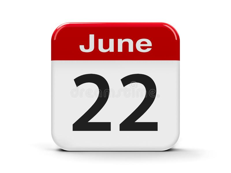 22nd June Calendar. Calendar web button - The Twenty Second of June, three-dimensional rendering, 3D illustration vector illustration