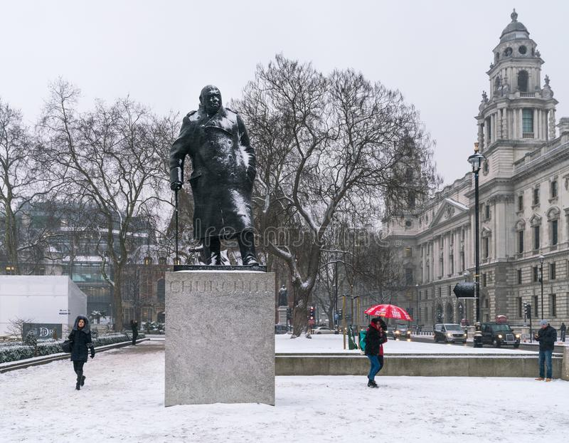 Churchill Statue Covered in Snow royalty free stock photo