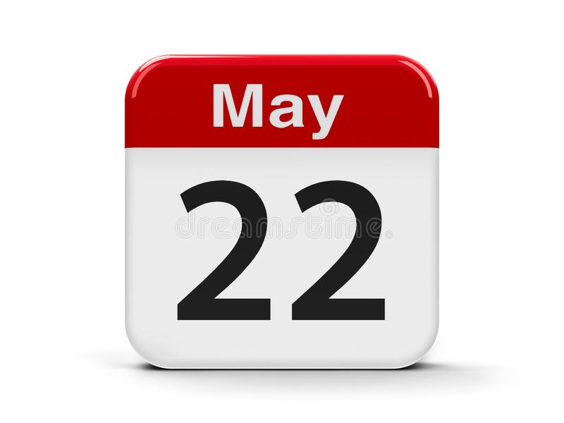 22nd May Calendar. Calendar web button - The Twenty Second of May - International Day for Biological Diversity, three-dimensional rendering, 3D illustration stock illustration