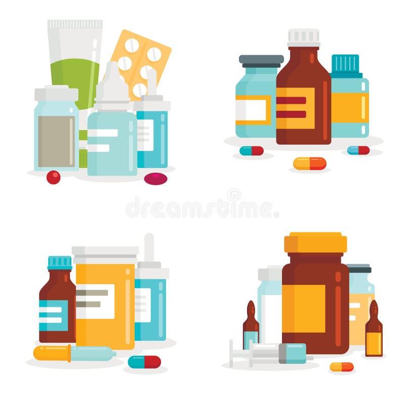 Nd-pillerhögar ställde in isolater på vit bakgrund Medicinsk drog för sjukvård, medicinapotekpiller arkivbild
