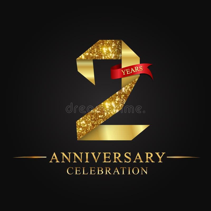 2nd rocznicowy roku świętowania logotyp Loga tasiemkowego złota numerowy i czerwony faborek na czarnym tle royalty ilustracja