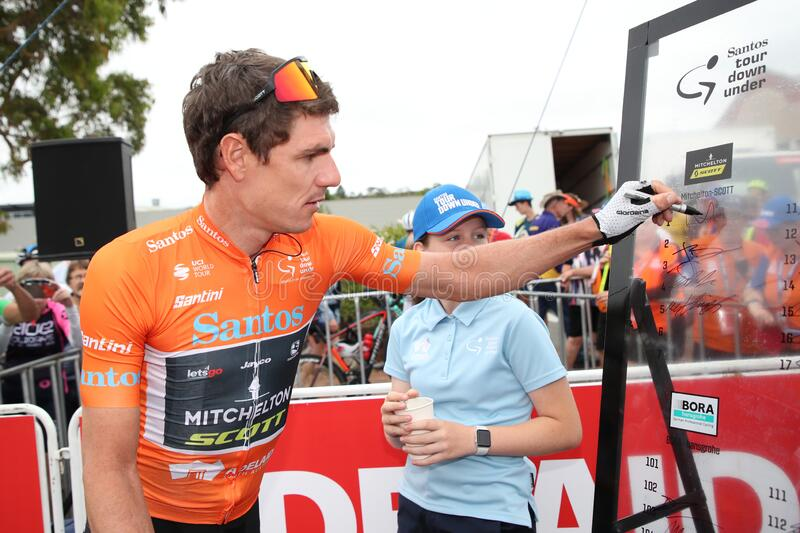 22nd Santos Tour Down Under UCI pro cycling in Adelaide, Australia. ADELAIDE, SOUTH AUSTRALIA - JANUARY 26, 2020: Ochre Leader`s Jersey Daryl Impey of South royalty free stock photos