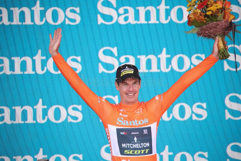 22nd Santos Tour Down Under UCI pro cycling in Adelaide, Australia. ADELAIDE, SOUTH AUSTRALIA - JANUARY 25, 2020: Ochre Leader`s Jersey winner Daryl Impey of royalty free stock photo