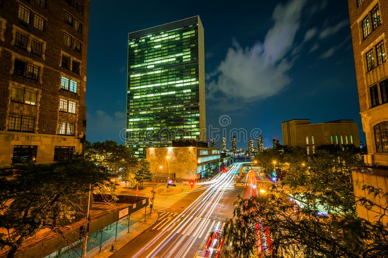 42nd Street at night, seen from Tudor City in Midtown Manhattan, New York City.  royalty free stock photography