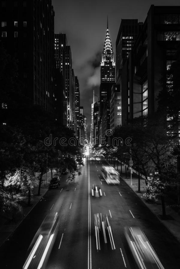 42nd Street at night from Tudor City, in Midtown Manhattan, New York City.  royalty free stock photo